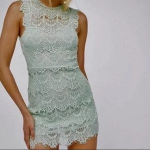 NWT Free People Mint Green Lace Mini Dress Small